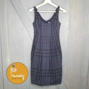Burberry Brit navy plaid sleeveless dress M6